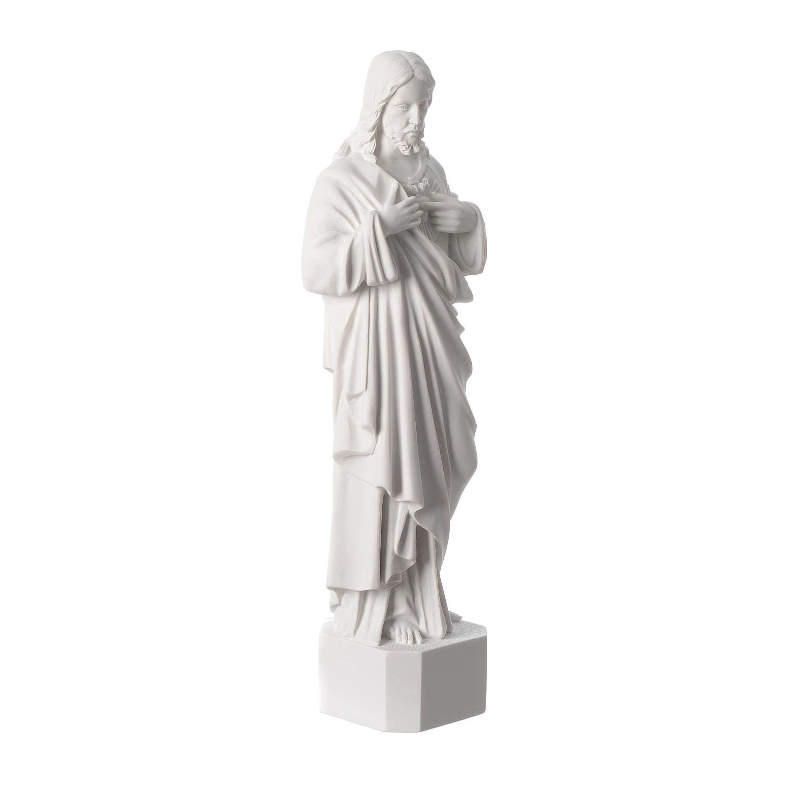 Statue Sacré Coeur de Jésus marbre reconstitué blanc 42 cm 4