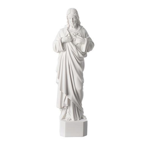 Statue Sacré Coeur de Jésus marbre reconstitué blanc 42 cm 1