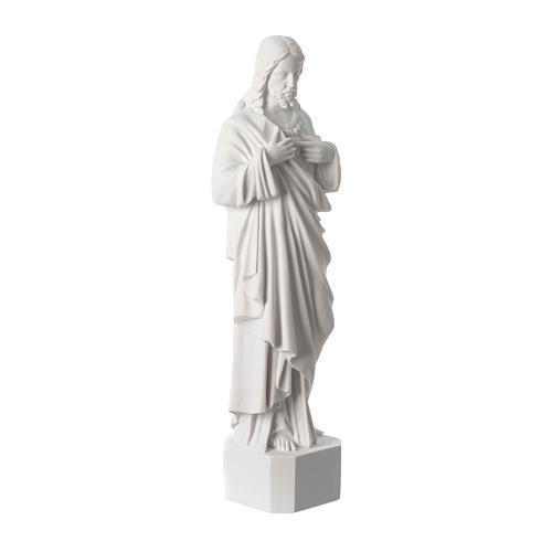 Statue Sacré Coeur de Jésus marbre reconstitué blanc 42 cm 3