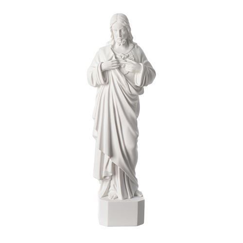 Sacred Heart of Jesus statue, in white marble dust 42 cm 1