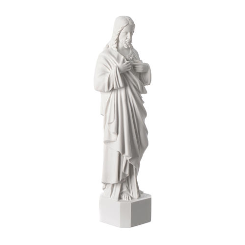 Sacred Heart of Jesus statue, in white marble dust 42 cm 3