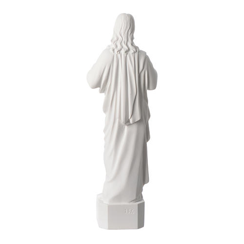 Sacred Heart of Jesus statue, in white marble dust 42 cm 4