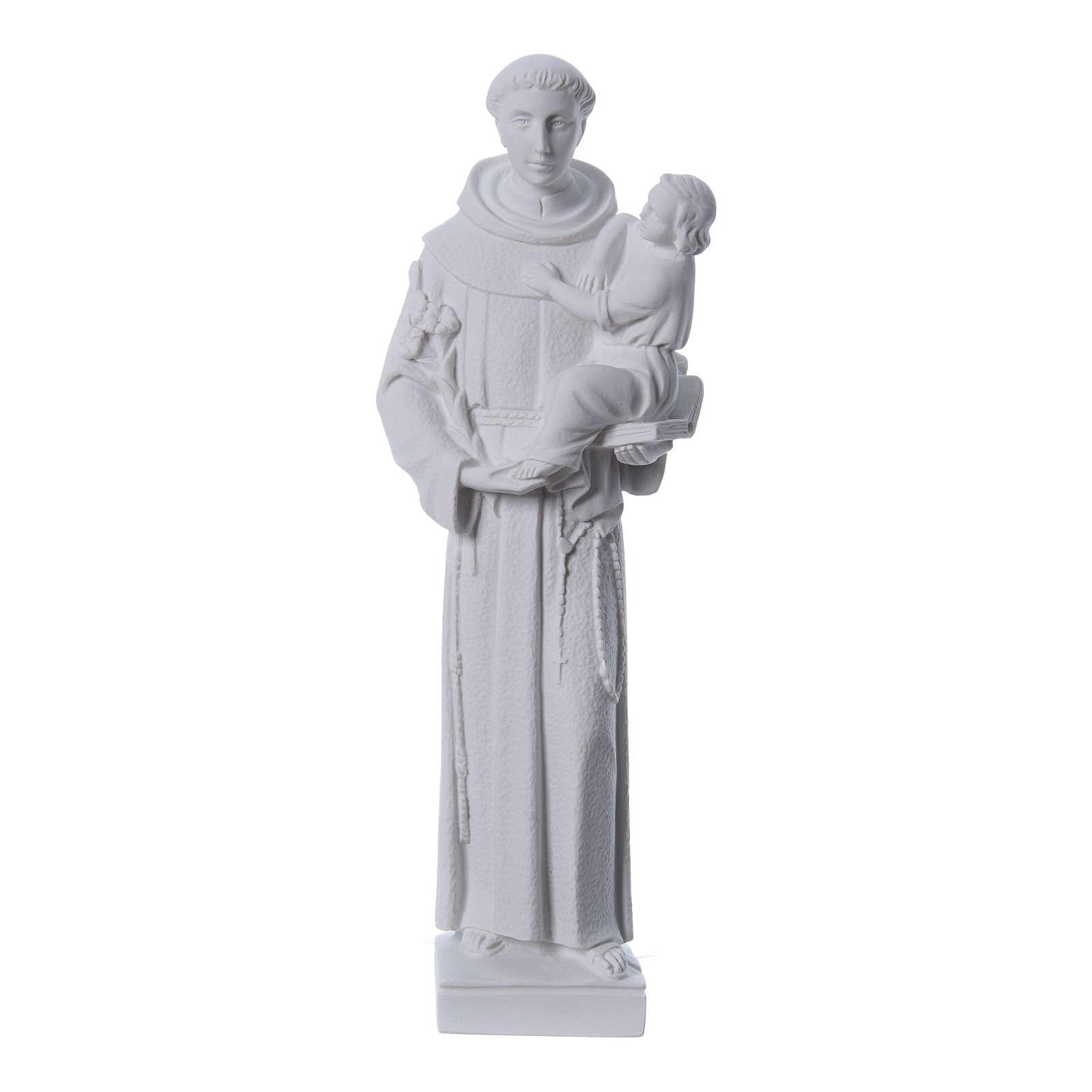 Sant'Antonio da Padova 40 cm polvere di marmo bianco 4