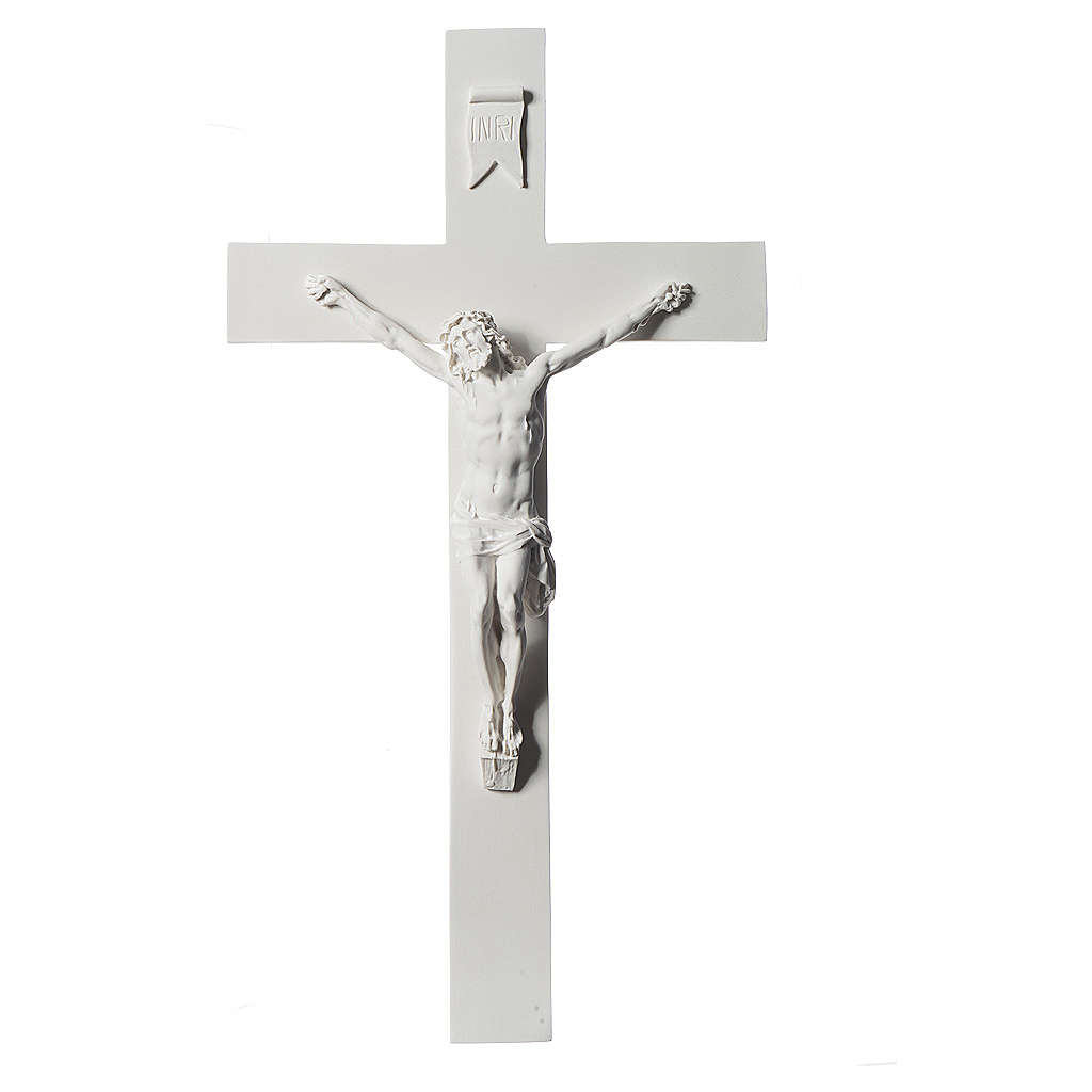 Crucifix, 43 cm in white marble dust 4