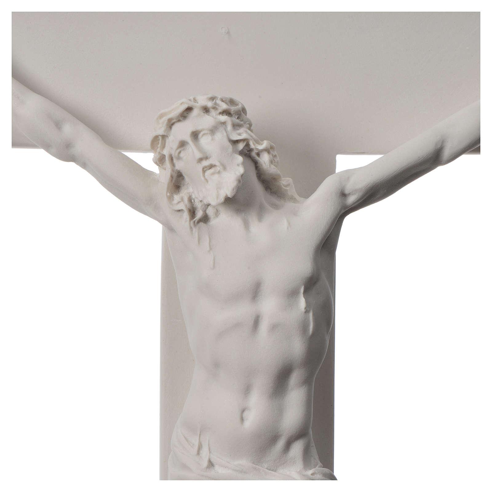 Crucifijo 50 cm mármol sintético blanco 4