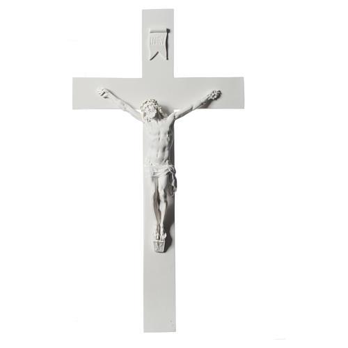 Crucifijo 50 cm mármol sintético blanco 7