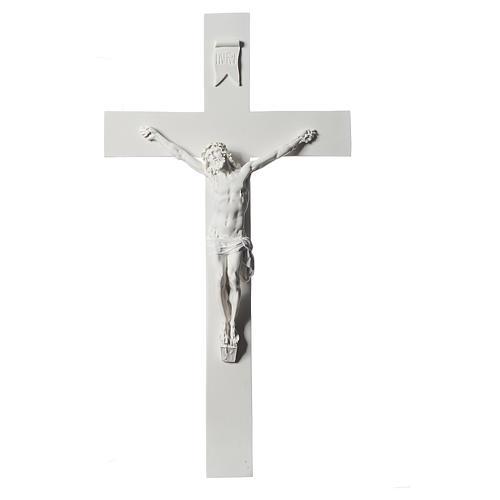 Crucifijo 50 cm mármol sintético blanco 1