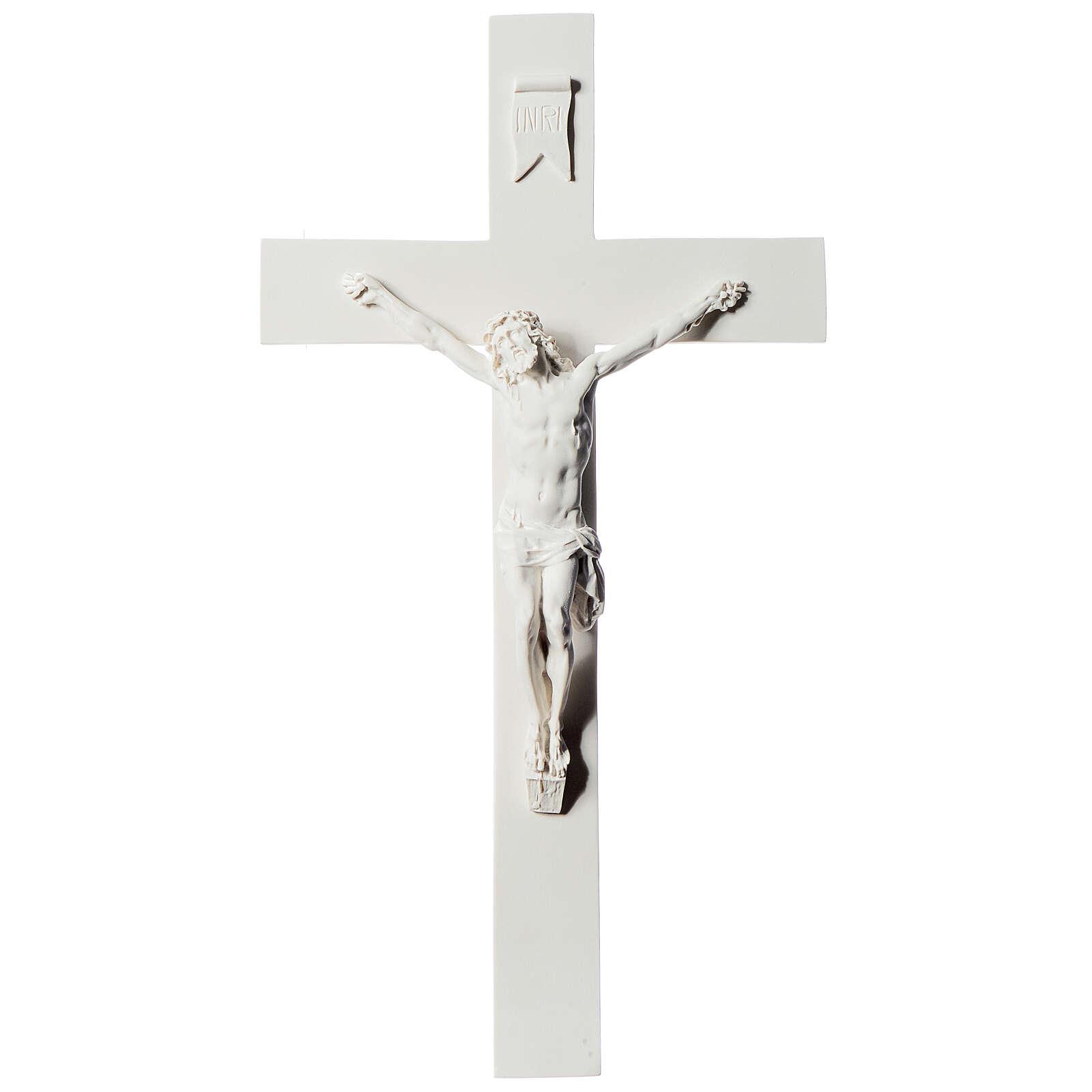 Crucifix marbre blanc reconstitué 43 cm 4