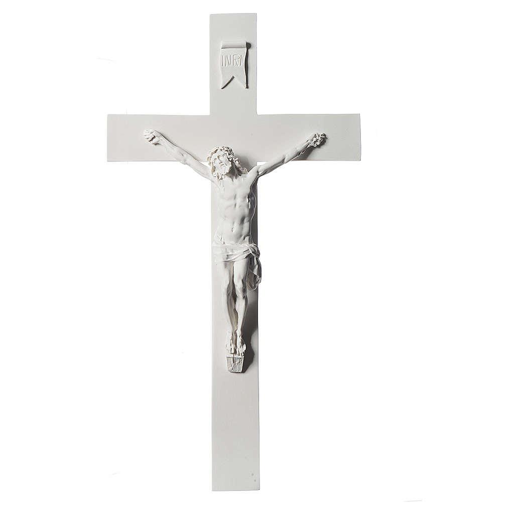Crocifisso 43 cm marmo sintetico bianco 4