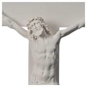 Crocifisso 43 cm marmo sintetico bianco s5