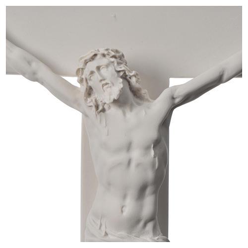 Crocifisso 43 cm marmo sintetico bianco 5