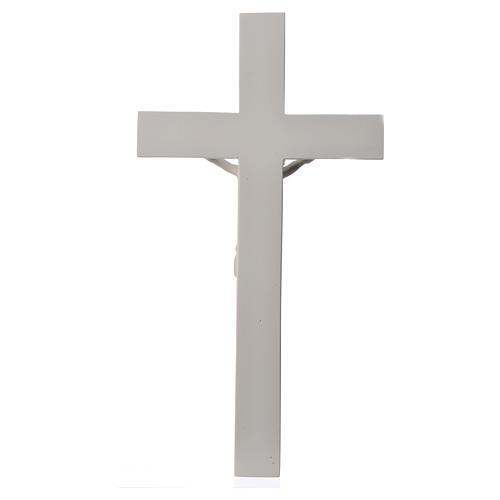 Crocifisso 43 cm marmo sintetico bianco 6