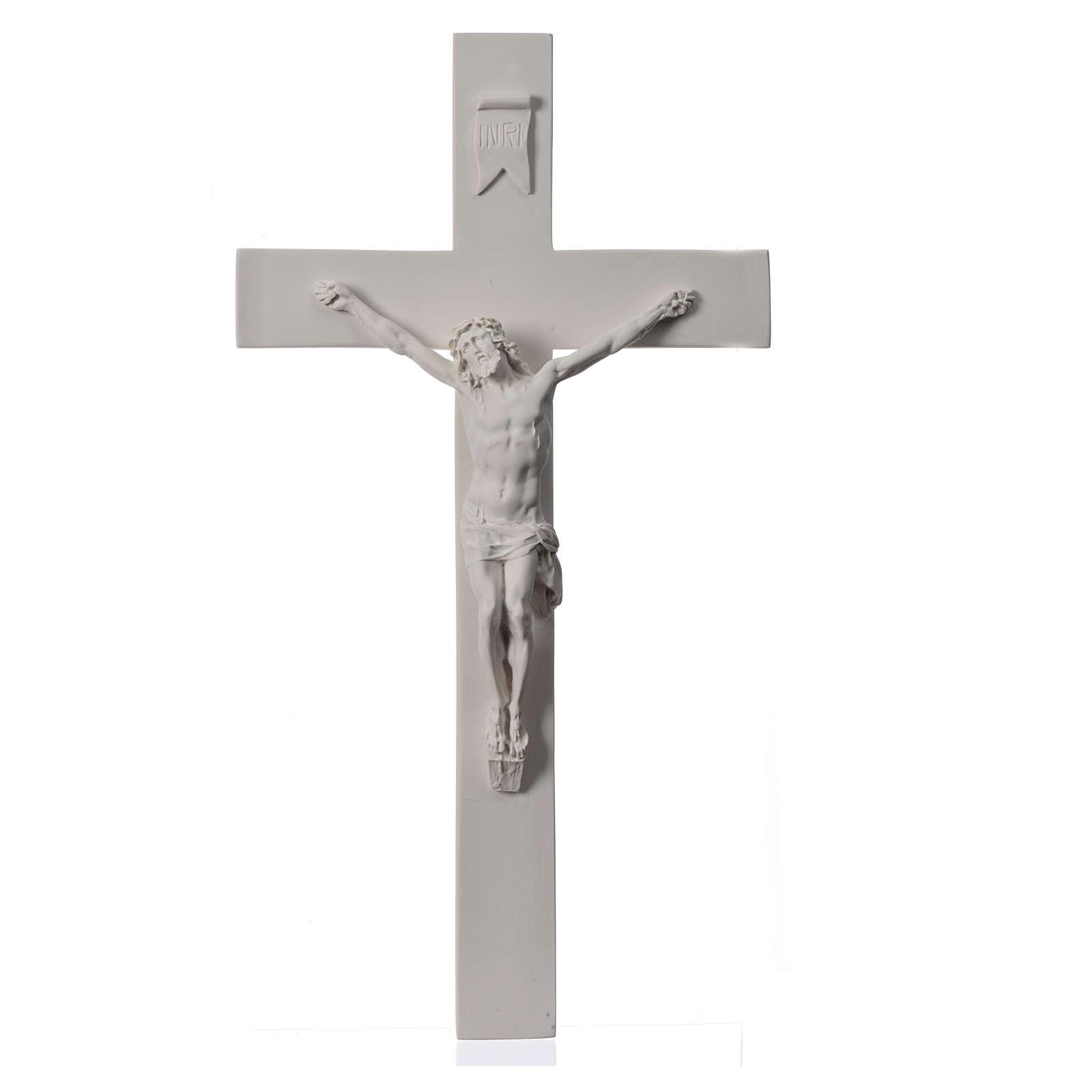 Krucyfiks 50 cm marmur syntetyczny biały 4