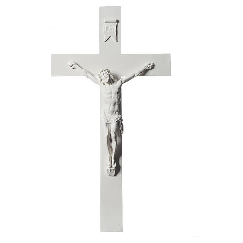 Crucifixo 43 mármore sintético branco 1