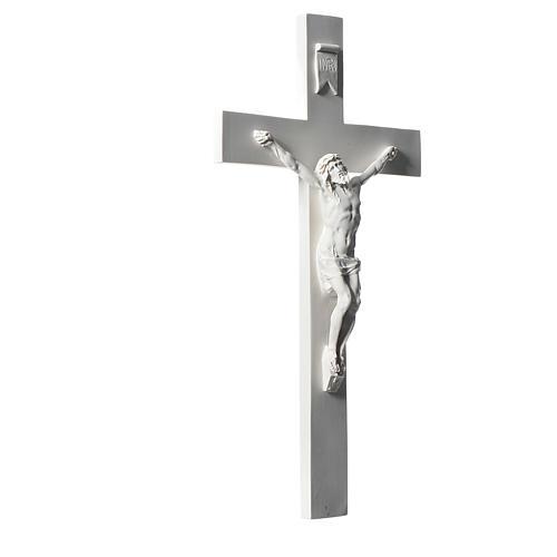Crucifixo 43 mármore sintético branco 2