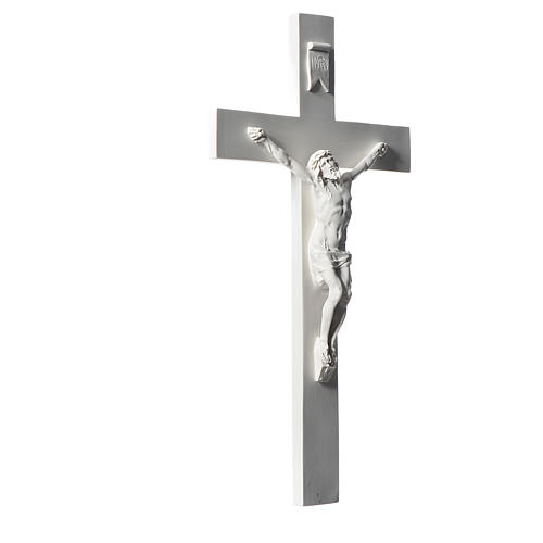 Crucifix, 43 cm in white marble dust 2