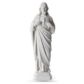 Sacred Heart of Jesus statue, 40 cm in white marble dust s1