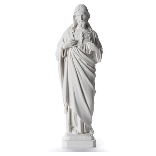 Sacred Heart of Jesus statue, 40 cm in white marble dust 1
