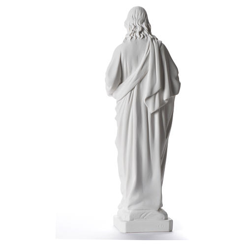 Sacred Heart of Jesus statue, 40 cm in white marble dust 3