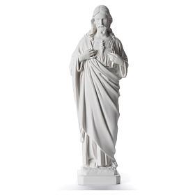 Sacro Cuore di Gesù 40 cm marmo sintetico bianco s1