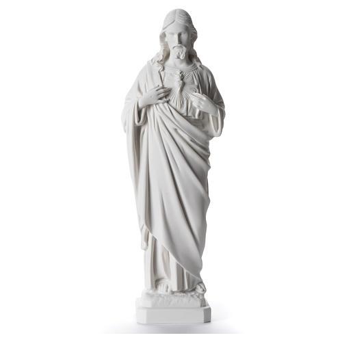Sacro Cuore di Gesù 40 cm marmo sintetico bianco 1
