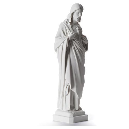 Sacro Cuore di Gesù 40 cm marmo sintetico bianco 2