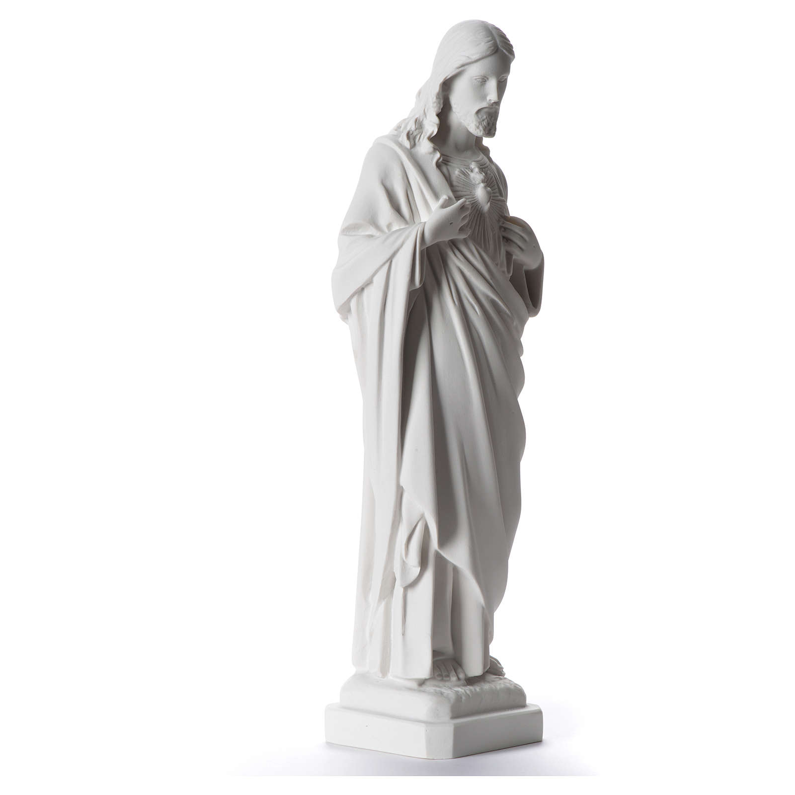 Sacred Heart of Jesus statue, 40 cm in white marble dust 4