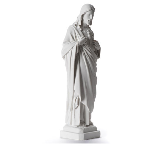 Sacred Heart of Jesus statue, 40 cm in white marble dust 2