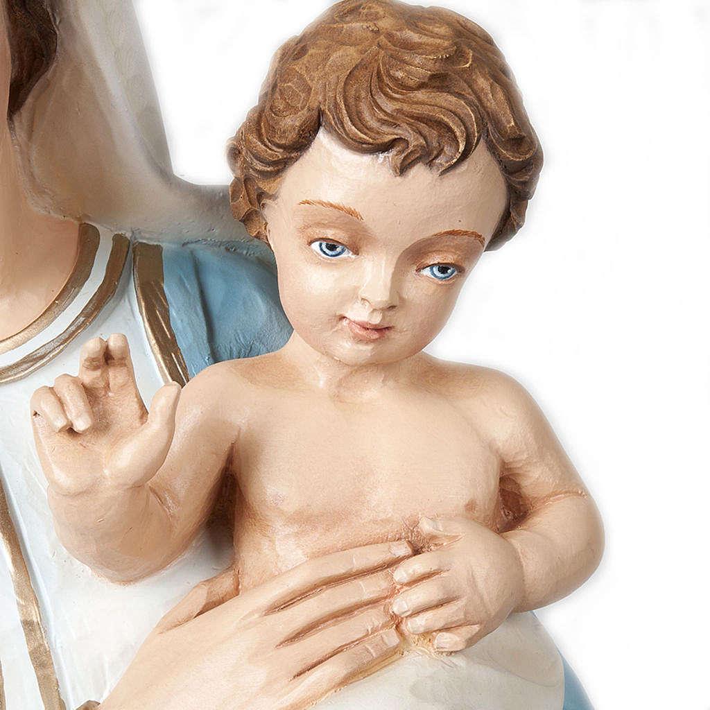 Virgen y Niño bendiciente 85 cm mármol sintético pintado 4