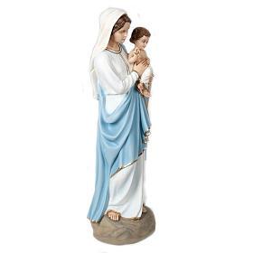 Virgen y Niño bendiciente 85 cm mármol sintético pintado s6