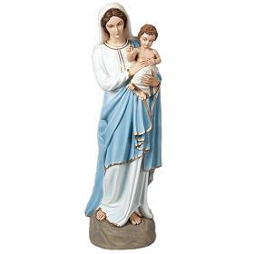 Madonna e Bambino benedicente 85 cm marmo sintetico colorato s1