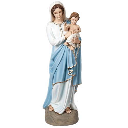 Virgem Maria e Menino Jesus abençoando 85 cm mármore sintético colorido