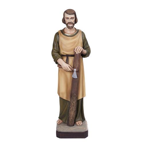 Saint Joseph the Carpenter statue, 80 cm in painted marble dust 1