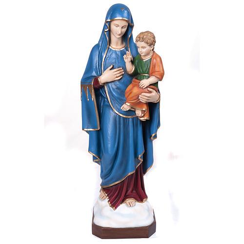 Statue Vierge de la consolation marbre reconstitué 80cm peinte 1