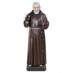 Père Pio marbre reconstitué 110cm peint s1