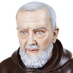 Père Pio marbre reconstitué 110cm peint s2