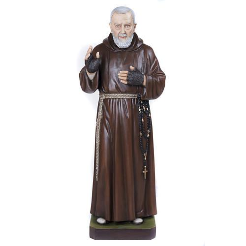 Père Pio marbre reconstitué 110cm peint 1