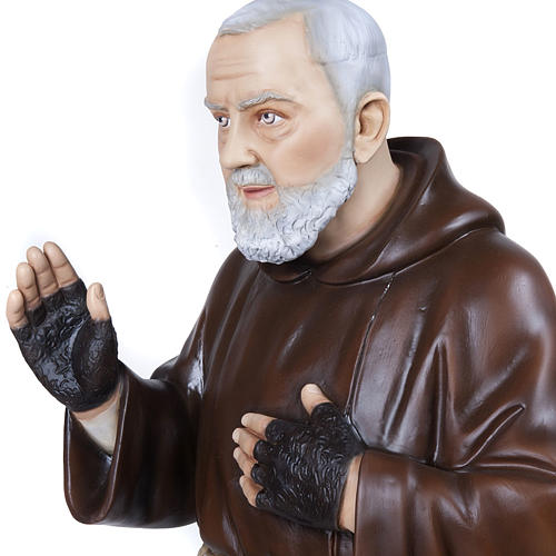 Père Pio marbre reconstitué 110cm peint 3