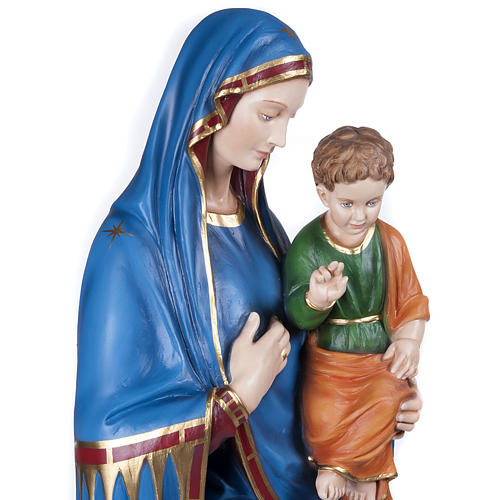 Statue Vierge de la consolation marbre 130cm peinte 6