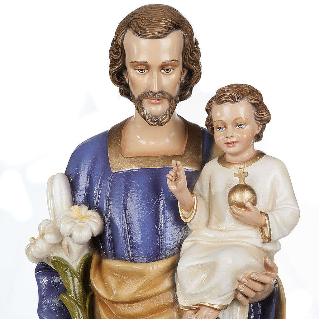 Heiliger Josef mit Christkind 80cm Kunstmarmor Hand gemalt 4