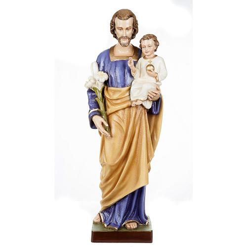 Saint Joseph with Baby Jesus statue, 80cm in painted reconstitut 1