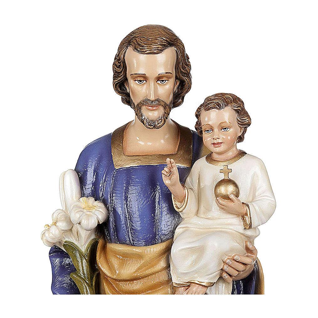 San Giuseppe con Bambino 80 cm marmo sintetico dipinto 4