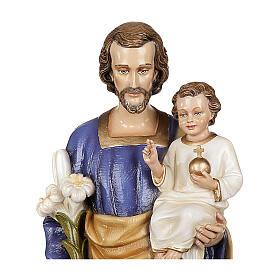 San Giuseppe con Bambino 80 cm marmo sintetico dipinto