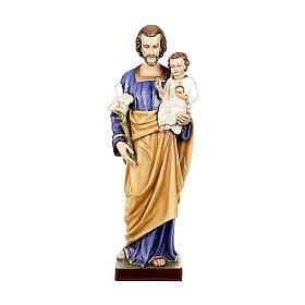 São José com Menino 80 cm mármore reconstituído pintado