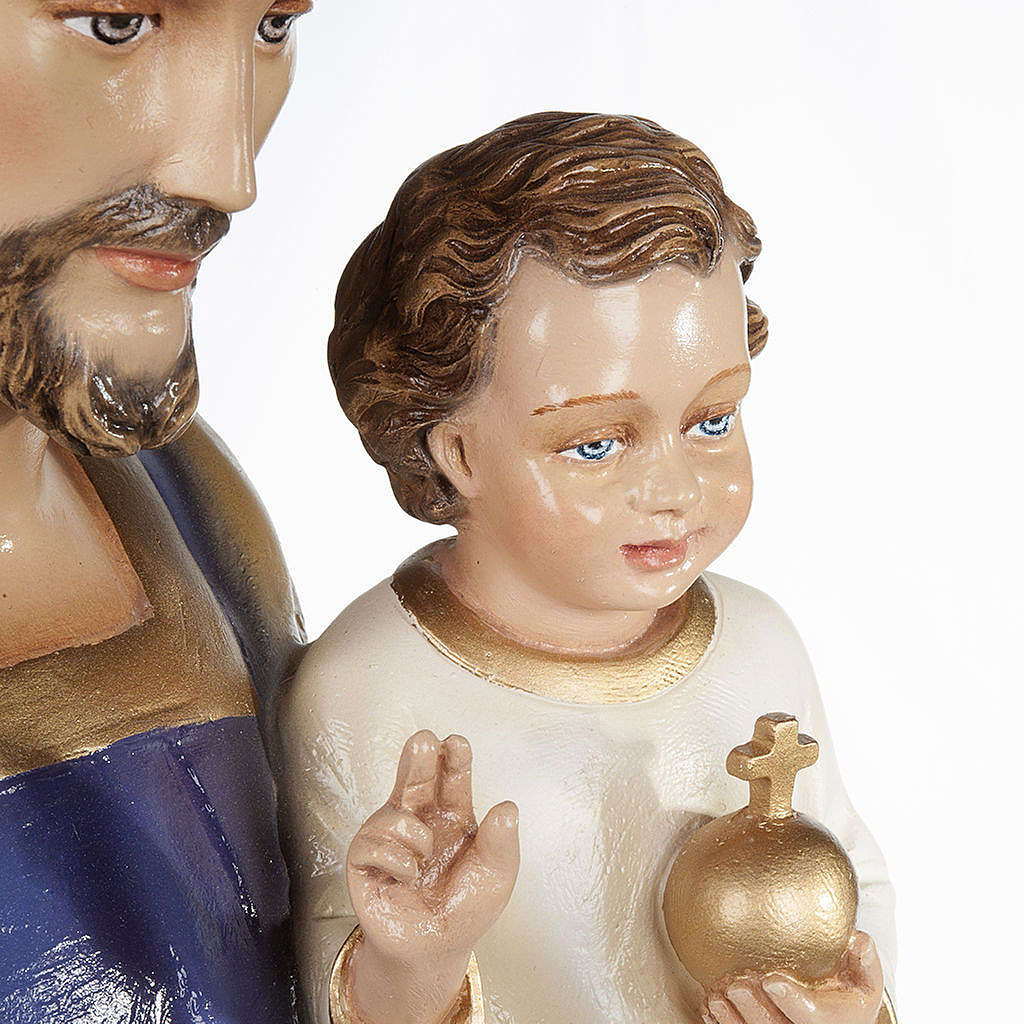 Saint Joseph with Baby Jesus statue, 80cm in painted composite marble 4