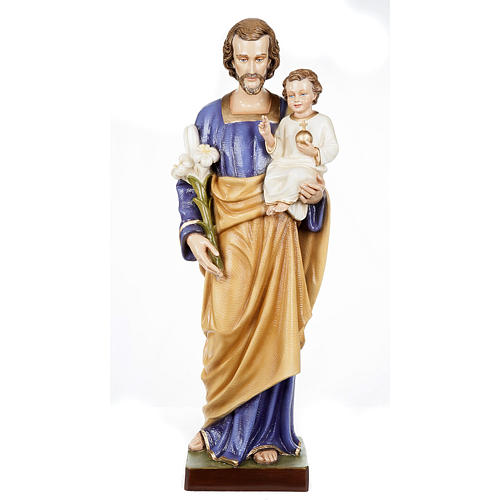 Saint Joseph with Baby Jesus statue, 80cm in painted composite marble 1