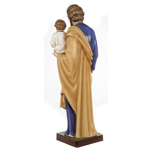 Saint Joseph with Baby Jesus statue, 80cm in painted composite marble 7