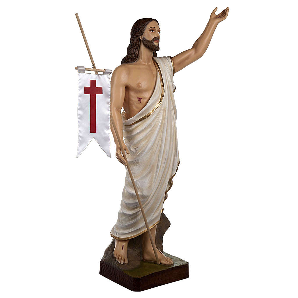 Resurrected Christ statue, 85cm in painted reconstituted marble 4