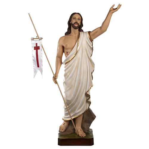 Resurrected Christ statue, 85cm in painted reconstituted marble 1