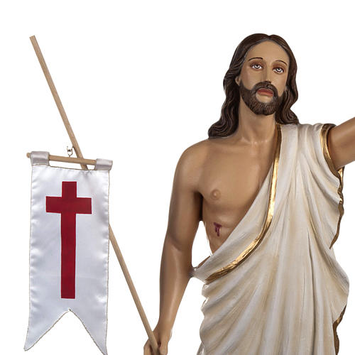 Resurrected Christ statue, 85cm in painted reconstituted marble 3